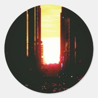 Manhattanhenge Sunset Looking Down 42nd Street Round Sticker