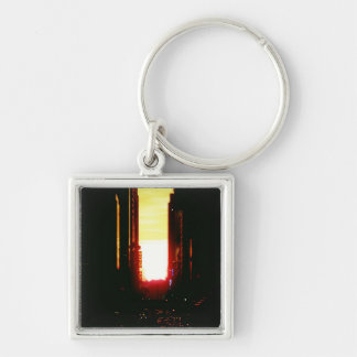 Manhattanhenge Sunset Looking Down 42nd Street Silver-Colored Square Key Ring