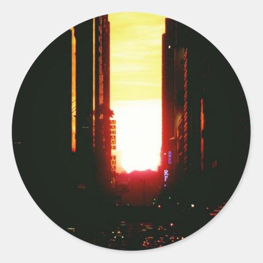 Manhattanhenge Sunset Looking Down 42nd Street Round Stickers