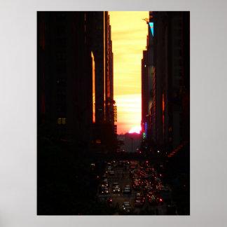 Manhattanhenge Sunset New York City, All Sizes Poster
