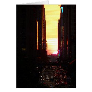 Manhattanhenge Sunset New York City Greeting Card