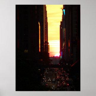 Manhattanhenge Sunset New York City, Medium Poster