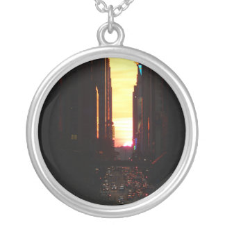Manhattanhenge Sunset New York City Round Pendant Necklace