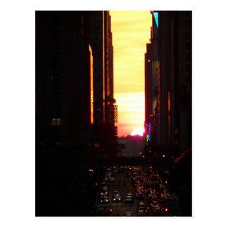 Manhattanhenge Sunset New York City Postcard