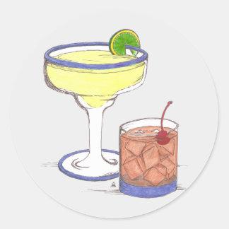 Manhattans & Margaritas | Customisable Round Sticker