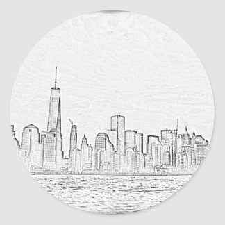 Manhatten skyline, NYC Classic Round Sticker