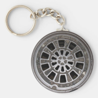 Manhole Cover Basic Round Button Key Ring