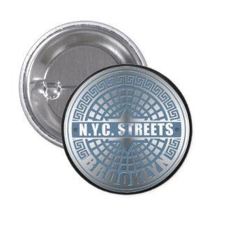 Manhole Cover Brooklyn Blue 3 Cm Round Badge
