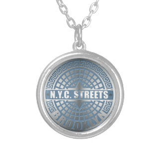 Manhole Cover Brooklyn Blue Silver Plated Necklace