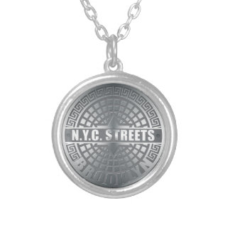 Manhole Covers Brooklyn Silver Plated Necklace
