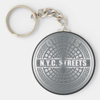 Manhole Covers Queens Basic Round Button Key Ring
