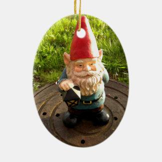 Manhole Gnome Ceramic Oval Decoration