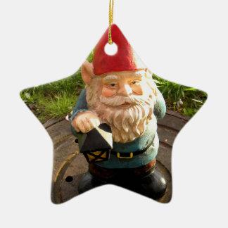 Manhole Gnome Double-Sided Star Ceramic Christmas Ornament