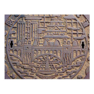 Manhole of the Osaka city aqueduct bureau drain va Postcard
