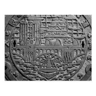Manhole of the Osaka city aqueduct bureau drain va Post Cards