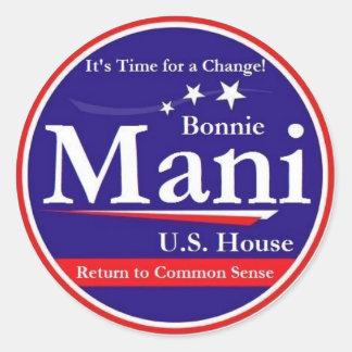 Mani for Congress Round Sticker