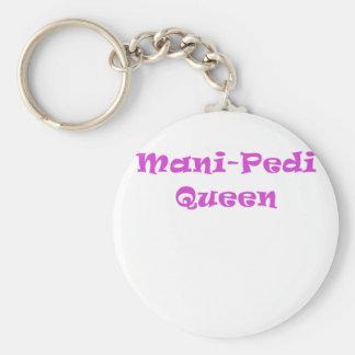 Mani Pedi Queen Basic Round Button Key Ring