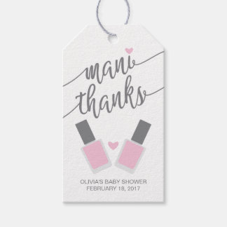 Mani Thanks Baby Shower Thank You Tag, Pink Gift Tags