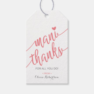Mani Thanks Thank You Tag, Manicure Tag, Pink