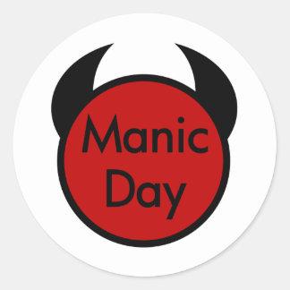 Manic Day Round Sticker