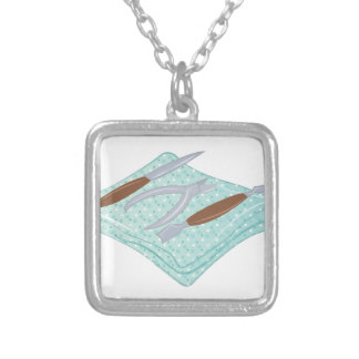 Manicure Tools Square Pendant Necklace
