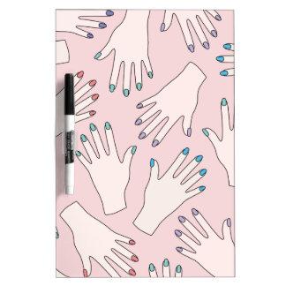 Manicured Hands Nail Studio Pink Pastel Pattern Dry Erase Board