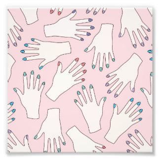 Manicured Hands Nail Studio Pink Pastel Pattern Photo Print