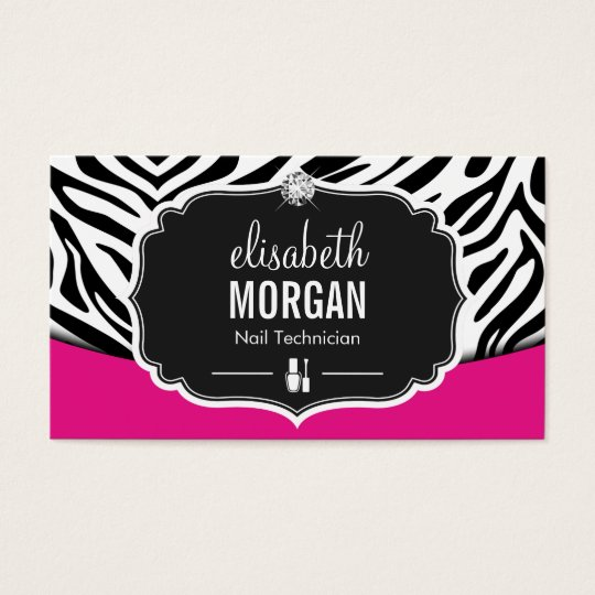 Manicurist Nail Technician Black Pink Zebra Print Business Card