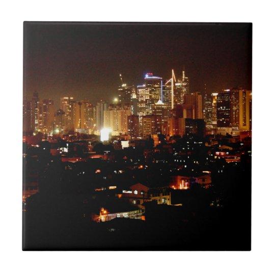 Manila at Night Small Square Tile