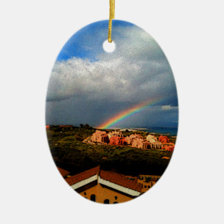 Manilva-Spain landscape rainbow and ocean view. Ceramic Oval Decoration