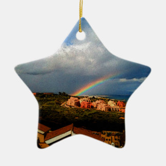 Manilva-Spain landscape rainbow and ocean view. Ceramic Star Decoration