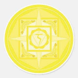 Manipura Chakra Mandala (solar plexus Chakra) Round Sticker