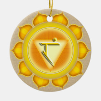 Manipura or Solar Plexus the 3rd Chakra Round Ceramic Decoration