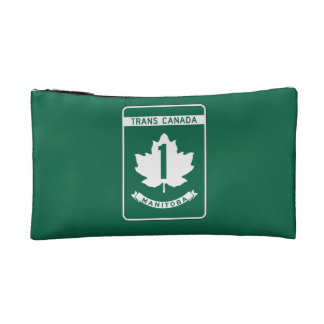 Manitoba, Trans-Canada Highway Sign Cosmetic Bags