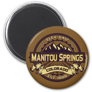 Manitou Springs Logo Sepia 6 Cm Round Magnet