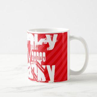 Manky; Scarlet Red Stripes Basic White Mug