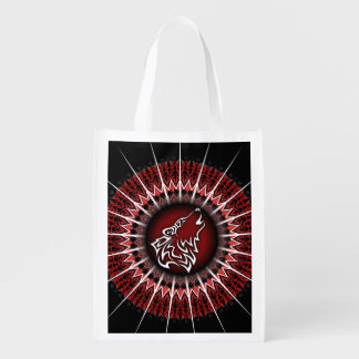 Manly Black Red Wolf Animal Reusable Grocery Bag