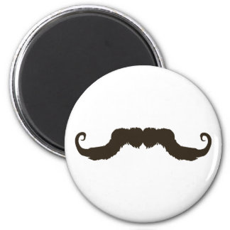 Manly curled mustache 6 cm round magnet