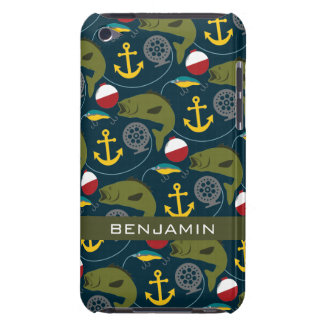 Manly Fisherman Pattern with Custom Name Barely There iPod Cases