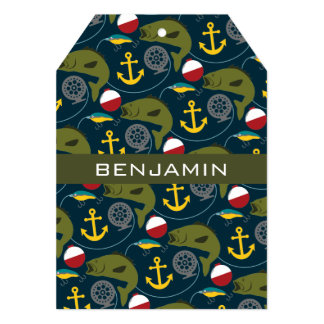 Manly Fisherman Pattern with Custom Name Personalized Announcement Card