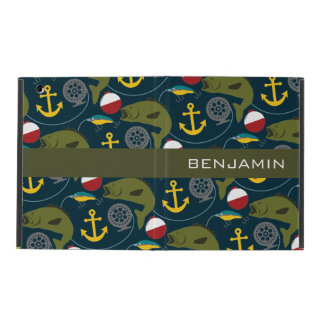 Manly Fisherman Pattern with Custom Name iPad Cases