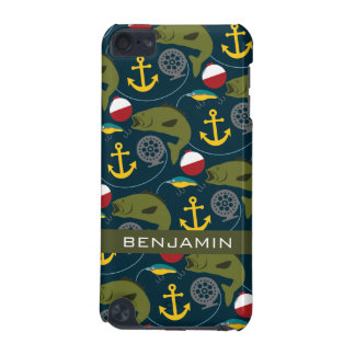 Manly Fisherman Pattern with Custom Name iPod Touch (5th Generation) Covers