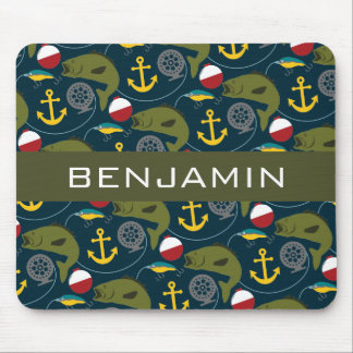 Manly Fisherman Pattern with Custom Name Mousepads