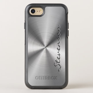 Manly Metallic Radial Stainless Steel Look OtterBox Symmetry iPhone 8/7 Case