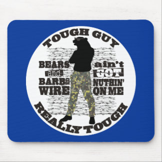 Manly tough guy overkill cool man bear barbed wire mouse pad