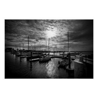 Manly Yacht Club in Dramatic Black and White Poster