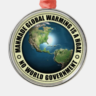 Manmade Global Warming Hoax Silver-Colored Round Decoration