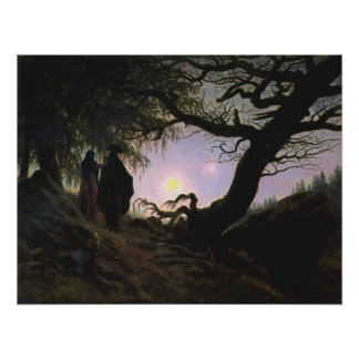 Mann und Frau den Mond Betrachtend Poster