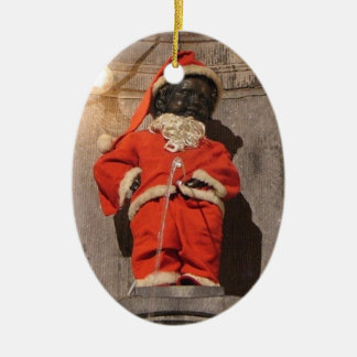Mannekin Pis Christmastime Ceramic Oval Decoration
