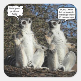 Mannequin Challenged Lemurs Square Sticker
